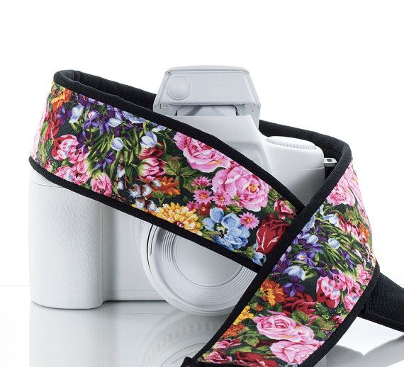 Floral dSLR Camera Strap, Garden Flowers, SLR, Canon camera strap, Nikon camera strap, Mirrorless,  70
