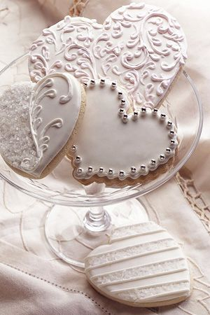Not a recipe - decorating ideas for love heart cookies. Great for weddings or V-day, perhaps Christmas too.