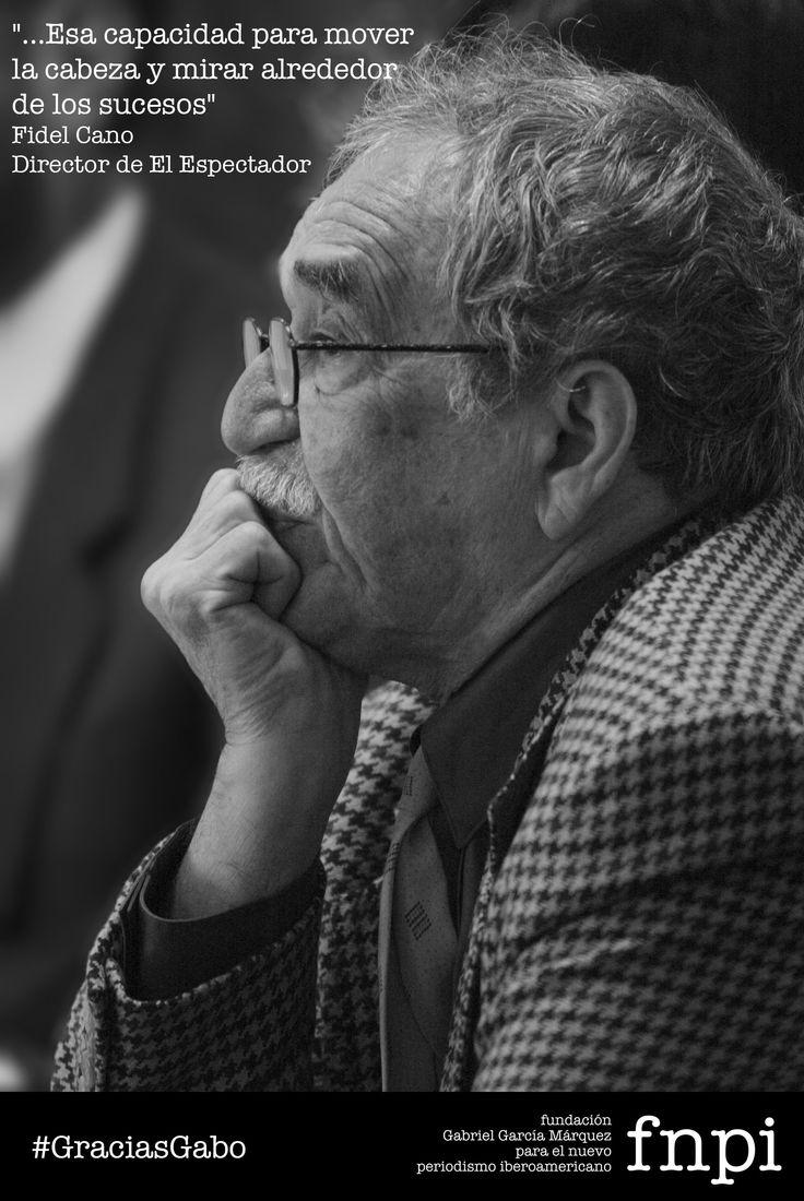 """""""Uno tiene todo para aprender del Gabo periodista en sus diferentes épocas, incluso su firmeza en las ideas así no fueran las más populares, lo cual es más valioso"""", Fidel Cano... http://especialgabo.fnpi.org/maestros/mirar-alrededor/ #GraciasGabo #Periodismo"""