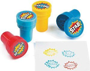 24 Superhero Self Inking Reward Stampers for Kids - Party Bag Fillers: Amazon.co.uk: Toys & Games