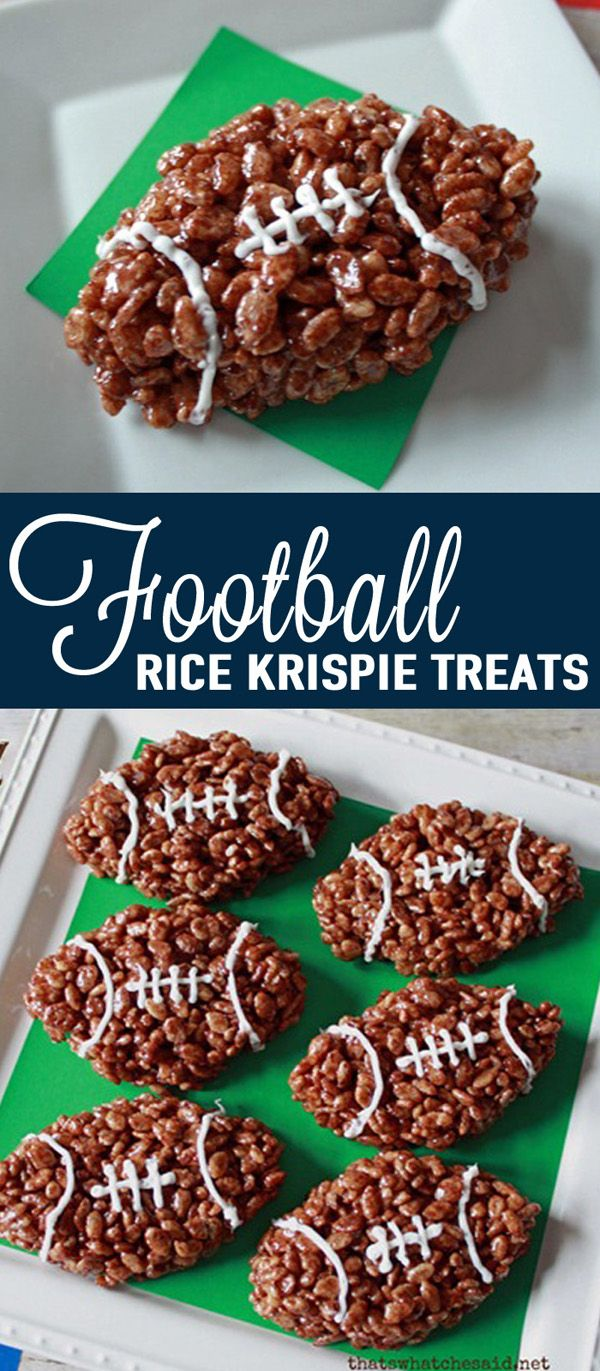 These Football Rice Krispie Treats are the perfect kid-friendly treat for the Super Bowl. See more ideas on www.prettymyparty.com.