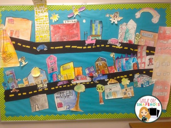Free expression bulletin board display during community theme study.  The students drew and painted different community buildings.