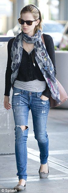Emma Watson ditches her safe clothes for rock chic in torn jeans | Mail Online