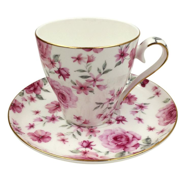 Jsaron Vintage Flower Tea Coffee Cup With Spoon And Saucer Set