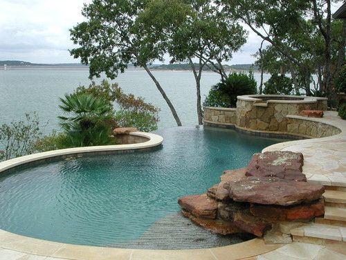Hill Country Residence - Canyon Lake, Texas infinity pool and hot tub. Blends with landscape. Love it!