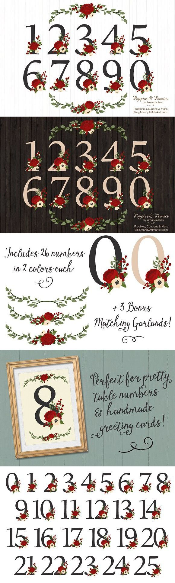 Christmas Floral Number Vectors. Wedding Fonts