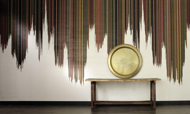 Embossed vinyl wallpaper with an aspect of beads | Para de Samba by Elitis | Jane Clayton