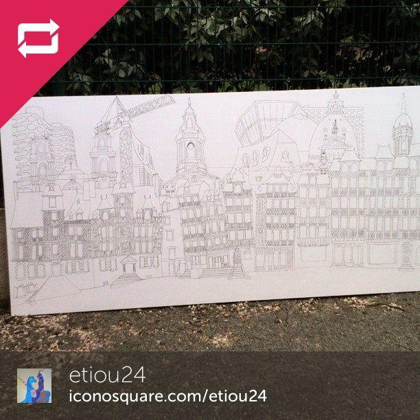 Regram from @etiou24  C'est prêt. On vous attend pour le #coloriage #collectif demain. Le #dessin représente les différents #monument de #rennes à gauche : les lices, la cathédrale, les horizons ; au centre le champ jacquet, la mairie, les #champslibres ; à droite, st Georges, la république, le colombia, st Melaine.. Et une grue parceque c'est #Renneschantiersdart