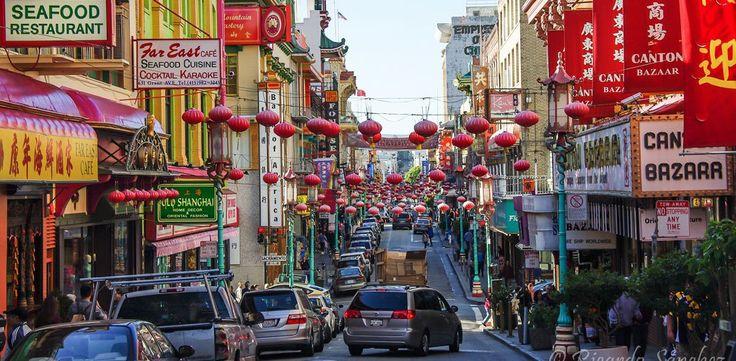 San Francisco, California - Vibrant lanterns and signs brighten up San Francisco's Chinatown.