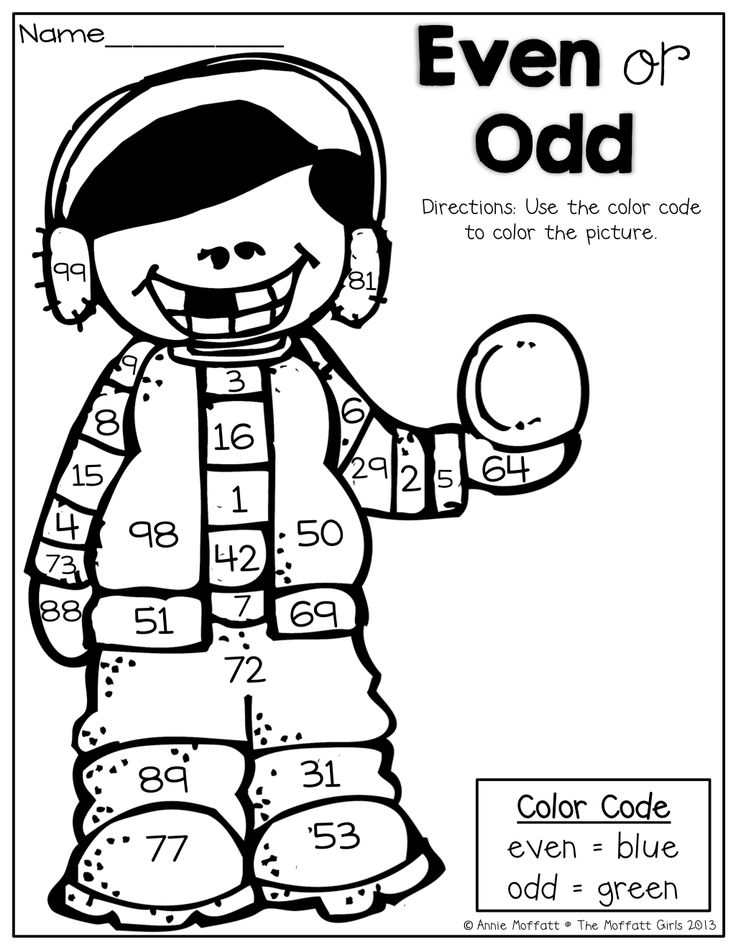 Even or Odd?  Color the picture according to the color code (even or odd)!