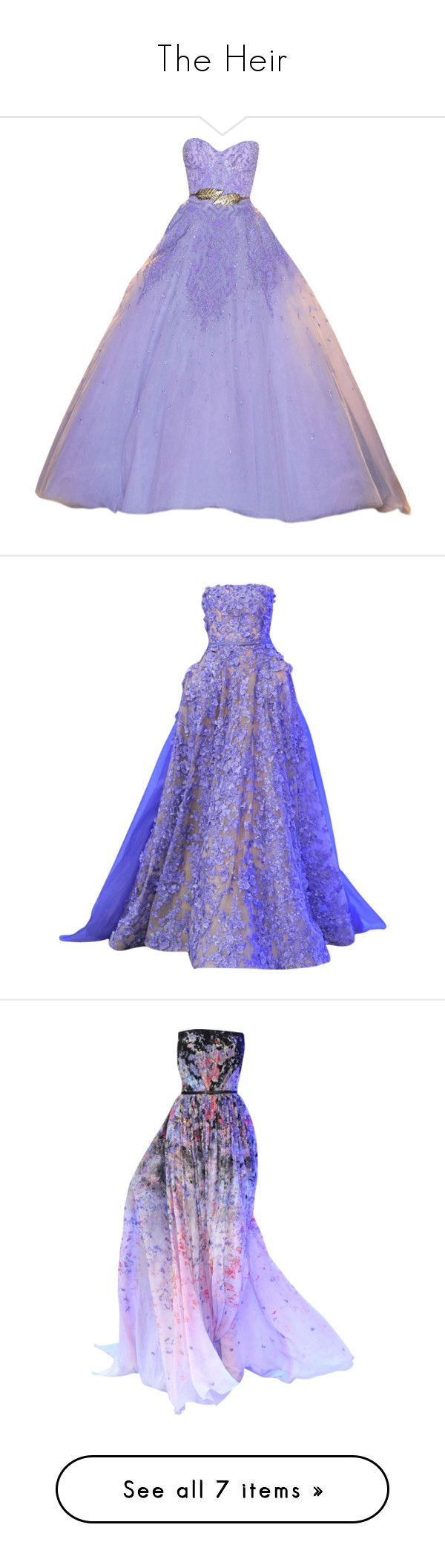 """""""The Heir"""" by lonely-wallflower ❤ liked on Polyvore featuring theheir, theselectionseries, dresses, gowns, long dresses, vestidos, zuhair murad dresses, long tube dress, purple evening gowns and purple gown"""