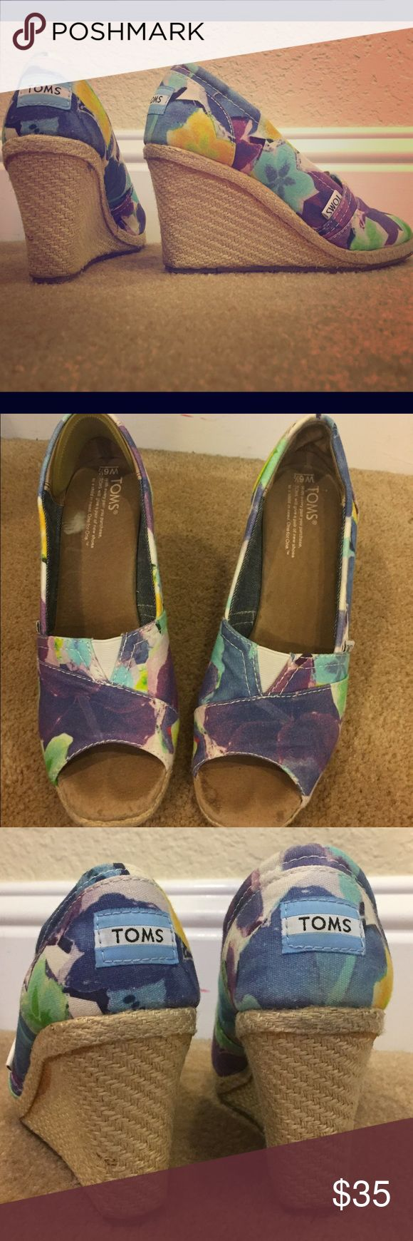 Toms Wedges These comfortable and stylish Tom Wedges in a size 6.5 are the perfect shoe. Worn a few times but still in good condition. TOMS Shoes Wedges