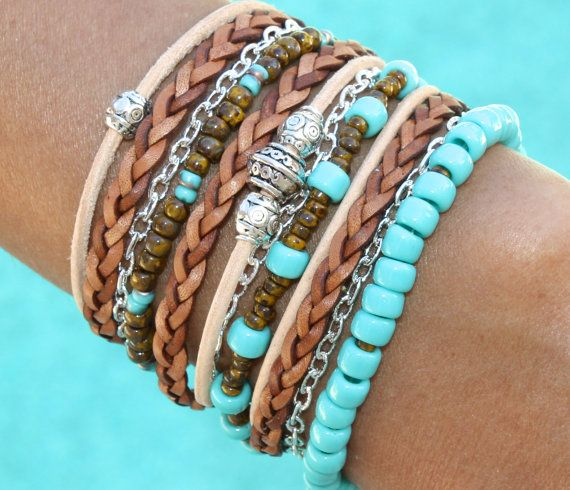 Boho LEATHER Wrap Bracelet - Pick COLOR / SIZE - Turquoise Toho Czech Triple Wrap Chain Bohemian Bracelet - Silver Tibetan Beads - 02/ T1