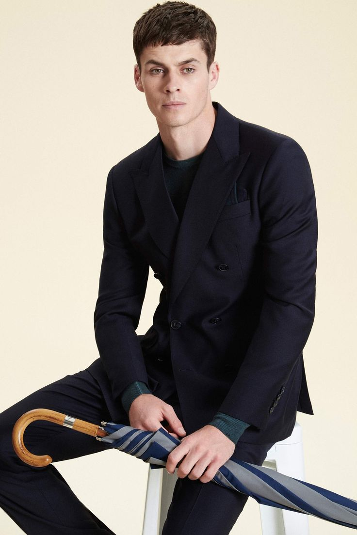 Double-Breasted Solid Wool Blazer - Suits - Clothing - Men   Hackett