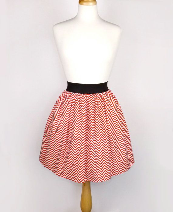 Red and White Chevron Stripes Pleated Full Hipster Skirt / Red and White Striped Skirt