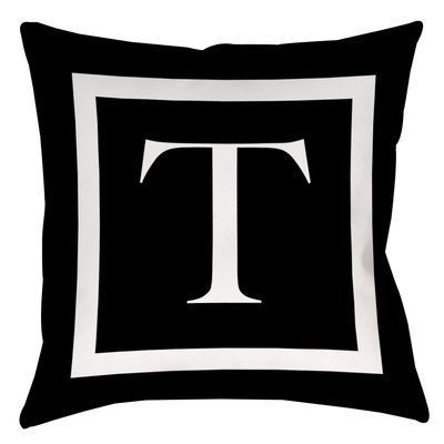 "Red Barrel Studio Lansdowne Outdoor Pillow Cover Size: 20"" H x 20"" W x 5"" D, Color: Black, Letter: T"