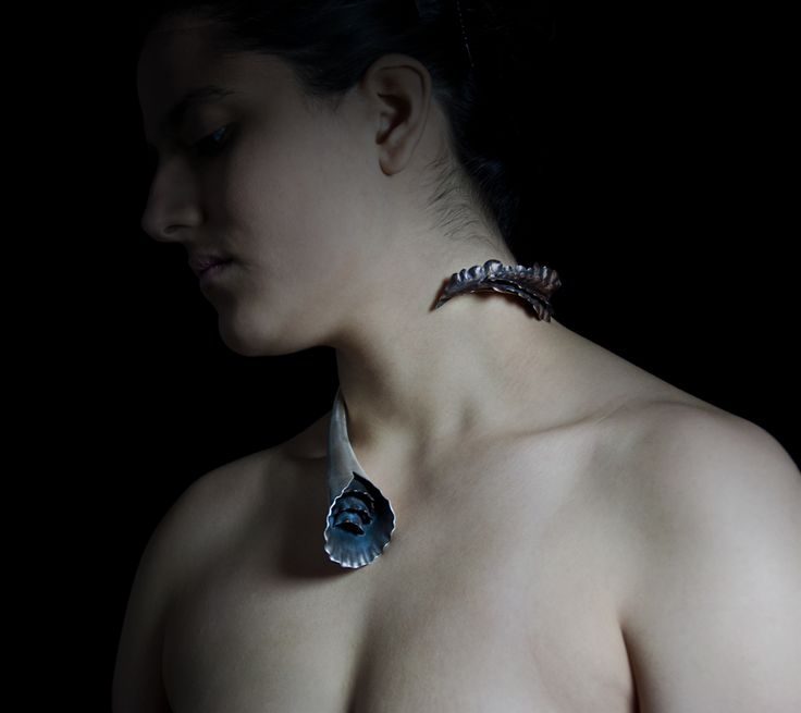 Cling.     Neckpiece on Model.  sterling silver, copper.  2015 #jewelry #artjewelry #handmade #silver #silversmith #crafts #metal #necklace #fineart
