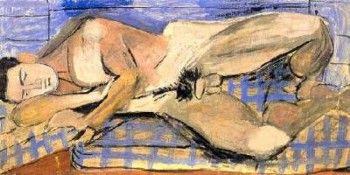 Nude lying in bed sheet karedoto, 1937 by Yannis Tsarouchis.