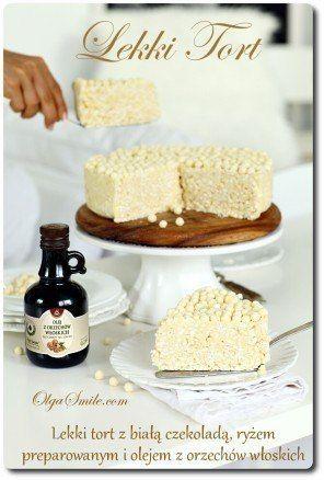 Lekki tort z ryżu preparowanego z białą czekoladą