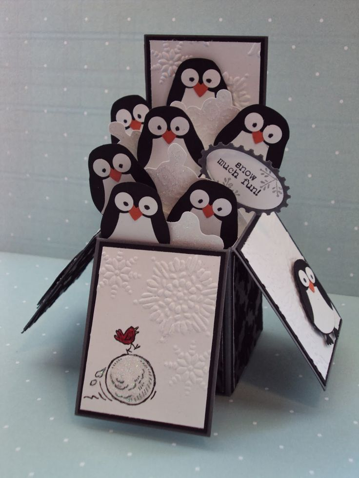 Stampin' Up - Owl Punch penguin - card in a box by paperecstasy.blogspot.com