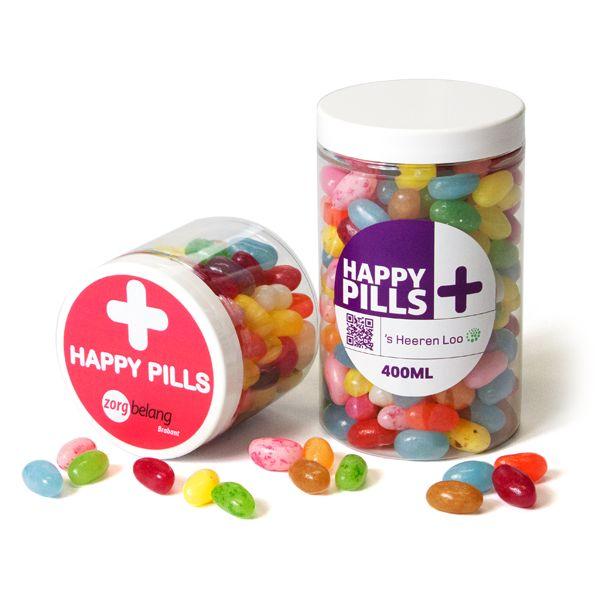 Happy Pills - potje met Jelly Beans. Maak je eigen sticker!