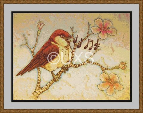 Modern counted cross stitch kit Sing song bird – Unconventional X Stitch