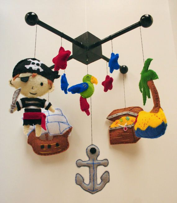 Pirate Felt Baby Mobile Parrot Ship Anchor Treasure Island