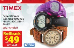 Timex® Expedition or Ironman Watches from Walmart  $49.00 (18% Off)