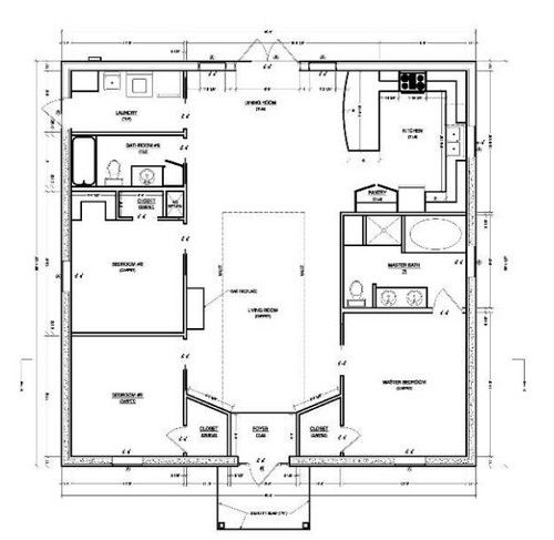 Small house plans 39 cept put the bath door to open into for Cheap home plans
