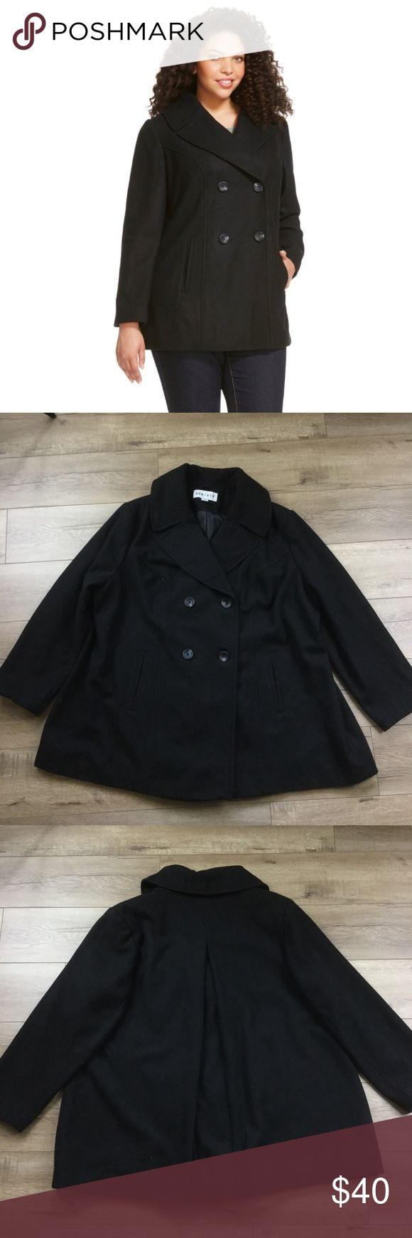 "Ava & Viv Black pea coat wool button up jacket Brand: Ava & Viv  Black button up pea coat. Thick material to keep you warm in the winter but also stylish  Size: 3X Approx measurements included in photos to ensure proper fit.  Material: Wool blend & polyester liner  Condition: Very Good, preloved  Flaws: None Known  Check out @teashopkids for all children's items!  Open to offers or click ""Add to Bundle"" for liked item(s) to receive a special Just For You discount OR save $$ instantly when…"