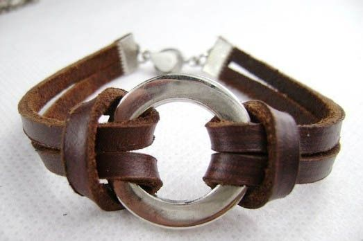 deep brown cowhide leather metal beads bracelet -- $8 -- from pinkyourlimb on etsy.com