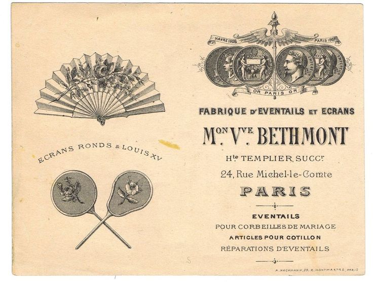178 best ephemera graphic arts design printing and typography antique vintage french paris france business card fan shop costume dec ephemera reheart Gallery
