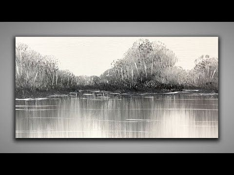 Black and White / EASY Landscape / 147 / Relaxing / For Beginners / Abstract Painting / Demonstration – YouTube