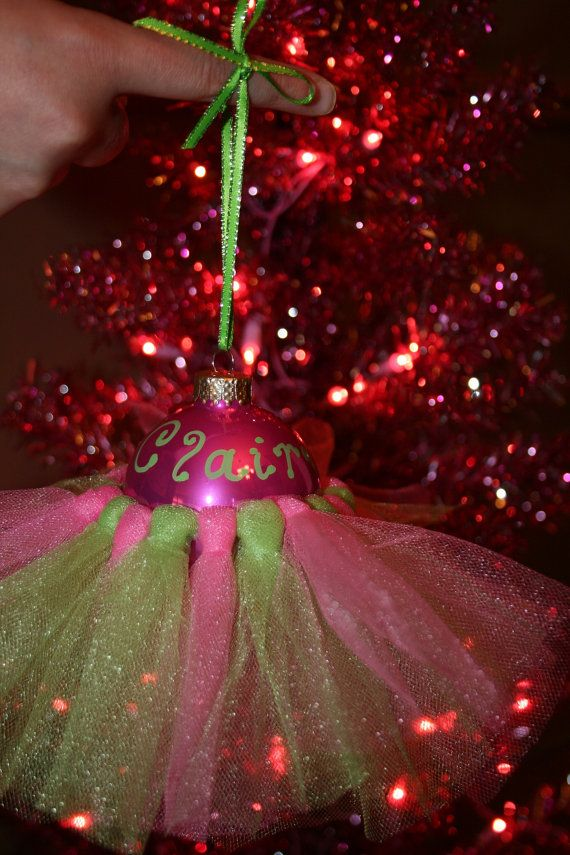 Ballet Tutu Christmas Ornaments with names. So making these for all of my dance girls!