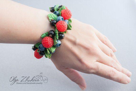 polymer clay blackberries charm bracelet wild berries fruit earrings clay bracelet candy bracelet berry earrings blueberry earrings