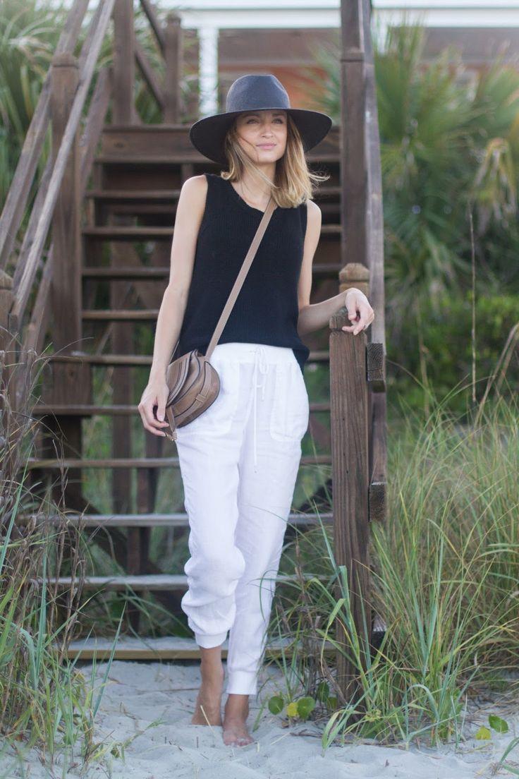 White linen pants + black top + Chloe Marcie crossbody bag + straw ...