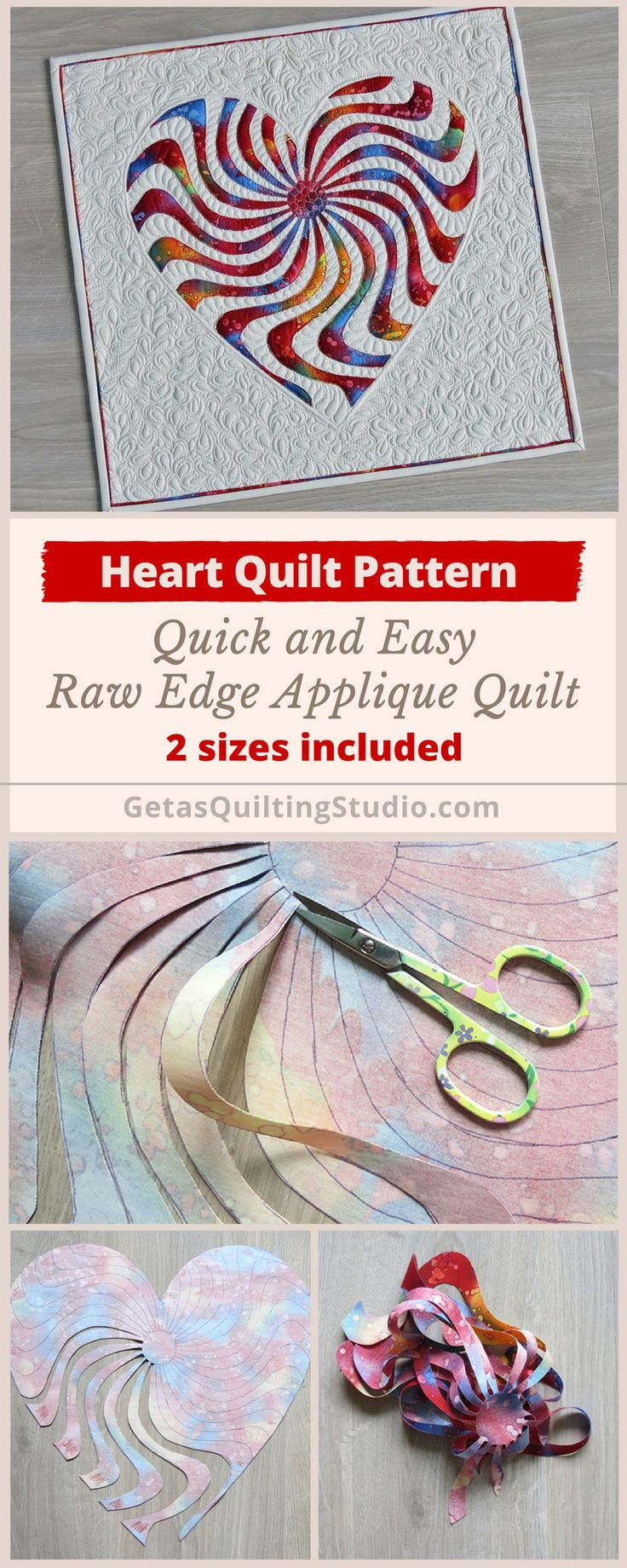Applique heart quilt pattern -  quick and easy technique for a small raw edge applique quilt. 2 sizes are included. via @getagrama