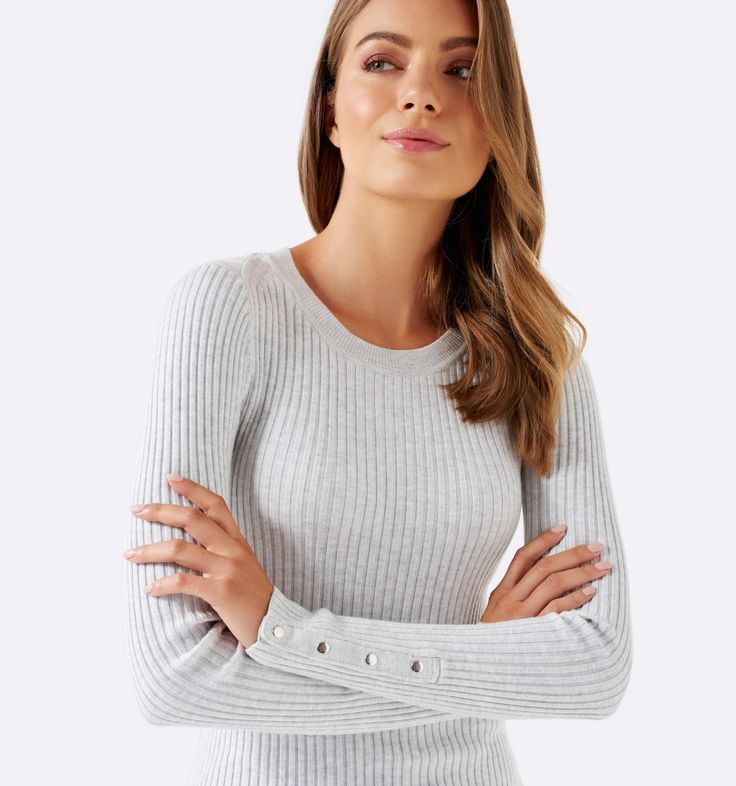 Forever New - Joyce Rib Jumper With Buttons, Iced Grey