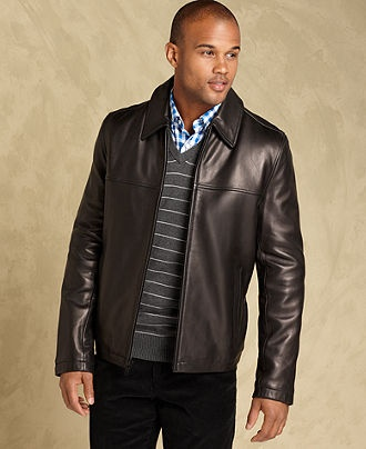 Tommy Hilfiger Jacket, Smooth Lamb Leather Open-Bottom Coat - Mens Coats & Jackets - Macy's #MacysFavoriteThings