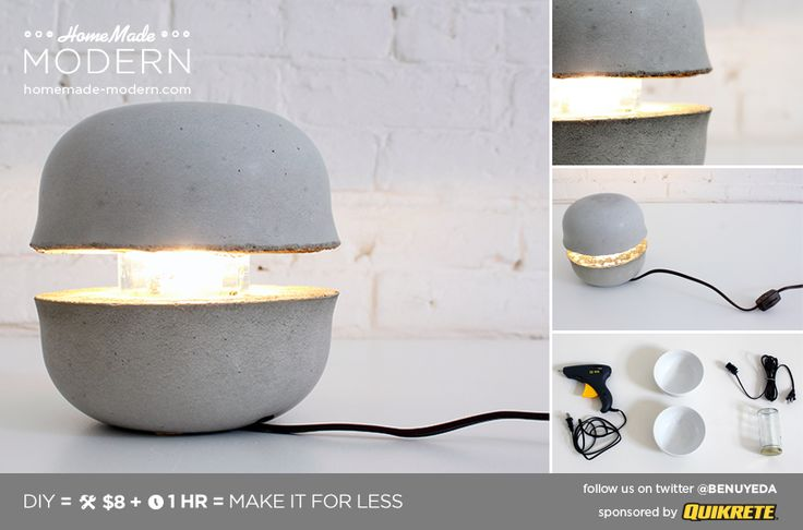 HomeMade Modern DIY Concrete Bowl Lamp Postcard