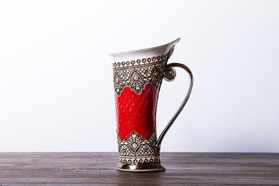 Hey, I found this really awesome Etsy listing at https://www.etsy.com/listing/213362548/ceramic-mug-tea-mug-red-mug-unique-mug