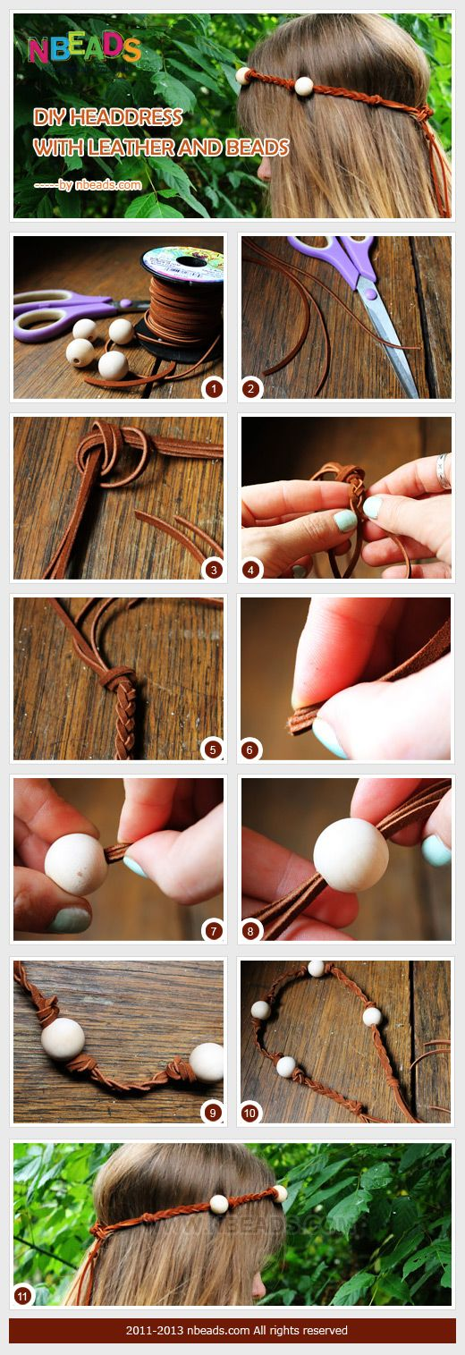 diy headdress with leather and beads