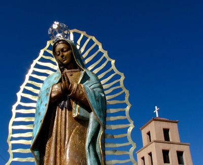 12' tall bronze statute graces the Santuario de Guadalupe in Santa Fe, New Mexico, which is the oldest church in the United States honoring Our Lady of Guadalupe.