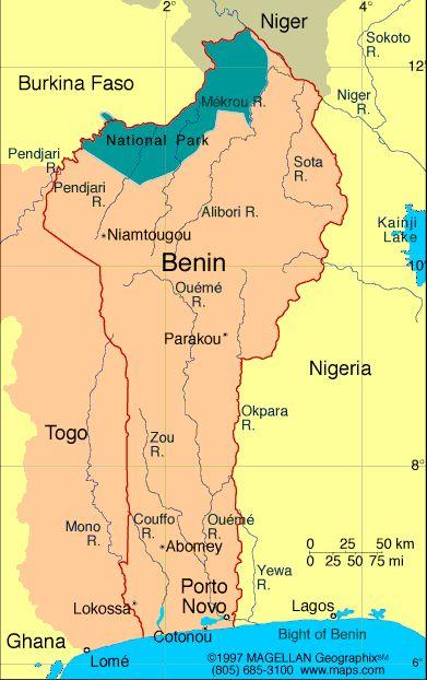 Map of Benin. Capital: Porto-Novo. Languages: French (official), Fon, Yoruba, tribal languages Ethnicity/race: African 99% (42 ethnic groups, most important being Fon, Adja, Yoruba, Bariba), Europeans 5,500.