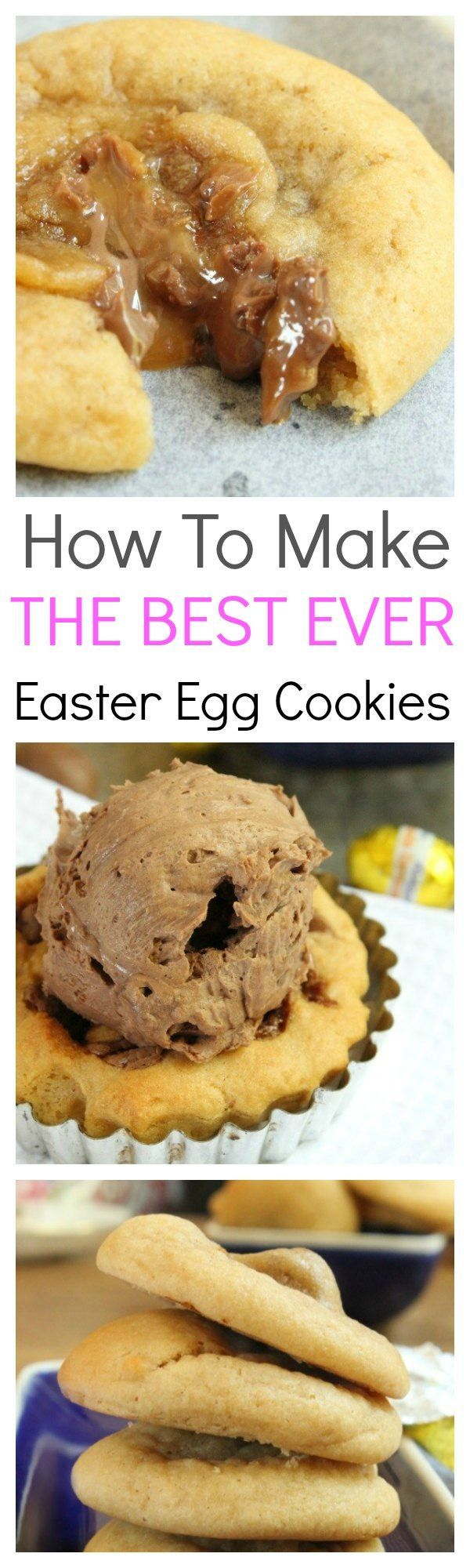 Gooey, Chewy Warm Easter Egg Cookies; served warm and cooked just right, these cookies are a sweet delight with a melted caramel chocolate center.  These cookies make an awesome dessert, afternoon snack and even a fantastic Easter gift. #Easter #Cookie #Cremeegg