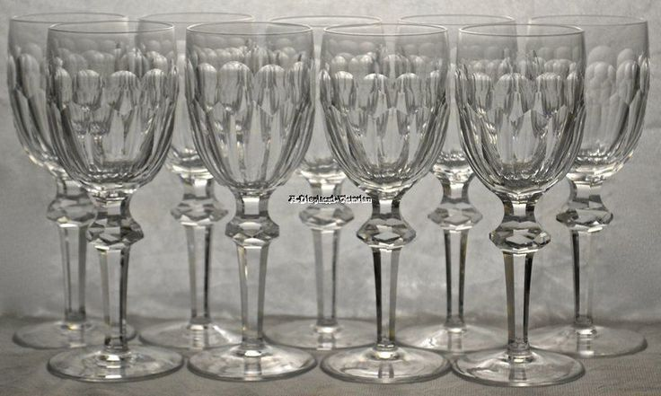 """9 WATERFORD CRYSTAL """"CURRAGHMORE"""" 7 1/8"""" CLARET WINE STEMS GLASSES GOBLETS"""