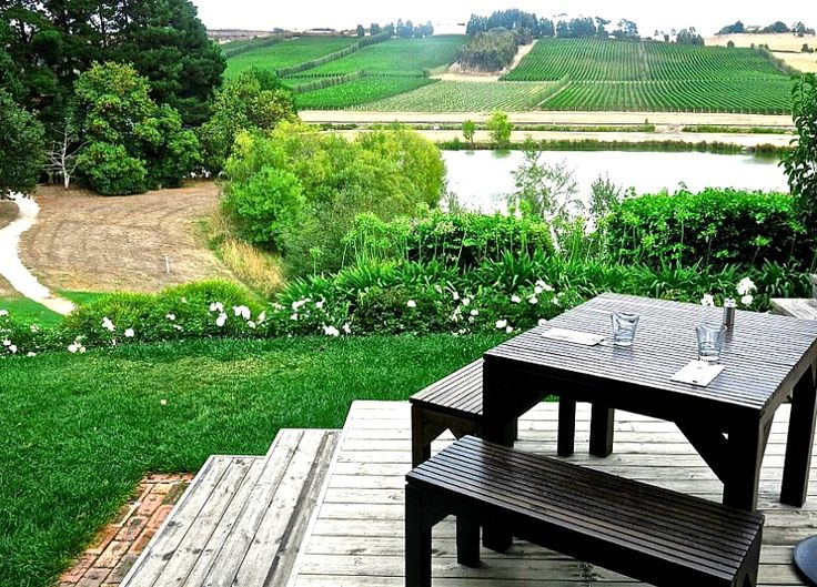 Josef Chromy Winery, Launceston, Tasmania, Australia.  The setting is beautiful over a lake and vineyards stretching along the opposite ridge. Fine wines, fine  food - time for good conversation and enjoyment.