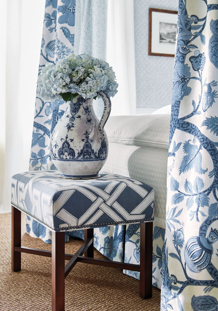 Bellwood Ottoman In Benedetto Woven Fabric In Navy From Thibaut Fine  Furniture
