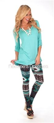 Teal & Mocha Aztec Print Leggings | Affordable Trendy and Modest Clothing | Cute Boutique Print Leggings