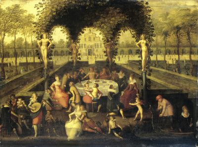 Venus, Bacchus and Ceres with Mortals in a Love Garden (Elegant Companionship under a Garden Bower) | Louis de Caullery | 1590 - 1621 | Rijksmuseum | Public Domain Marked